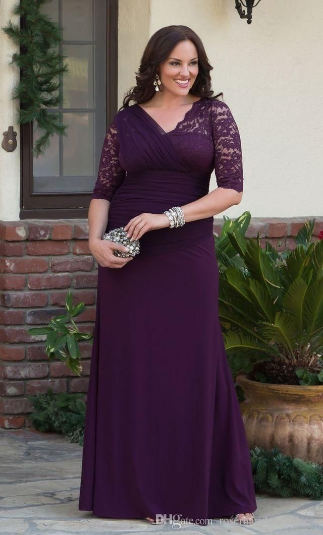 V neck half sleeves lace long mother groom dresses 2017 for Purple plus size dresses for weddings