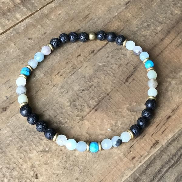 Amazonite Lapis Lazuli Stone Charm Bracelet with Essential Oil Diffuser