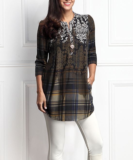 Olive Damask Plaid Button-Front Side-Pocket Tunic - Plus Too