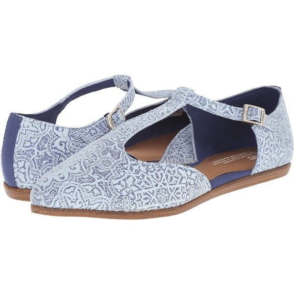 5eab0faa7 TOMS Jutti T-Strap (Blue Tiles Suede Printed) Women's Flat Shoes ($42) ❤  liked on Polyvore featuring shoes, blue, blue suede shoes, flat pumps, ankle  strap ...