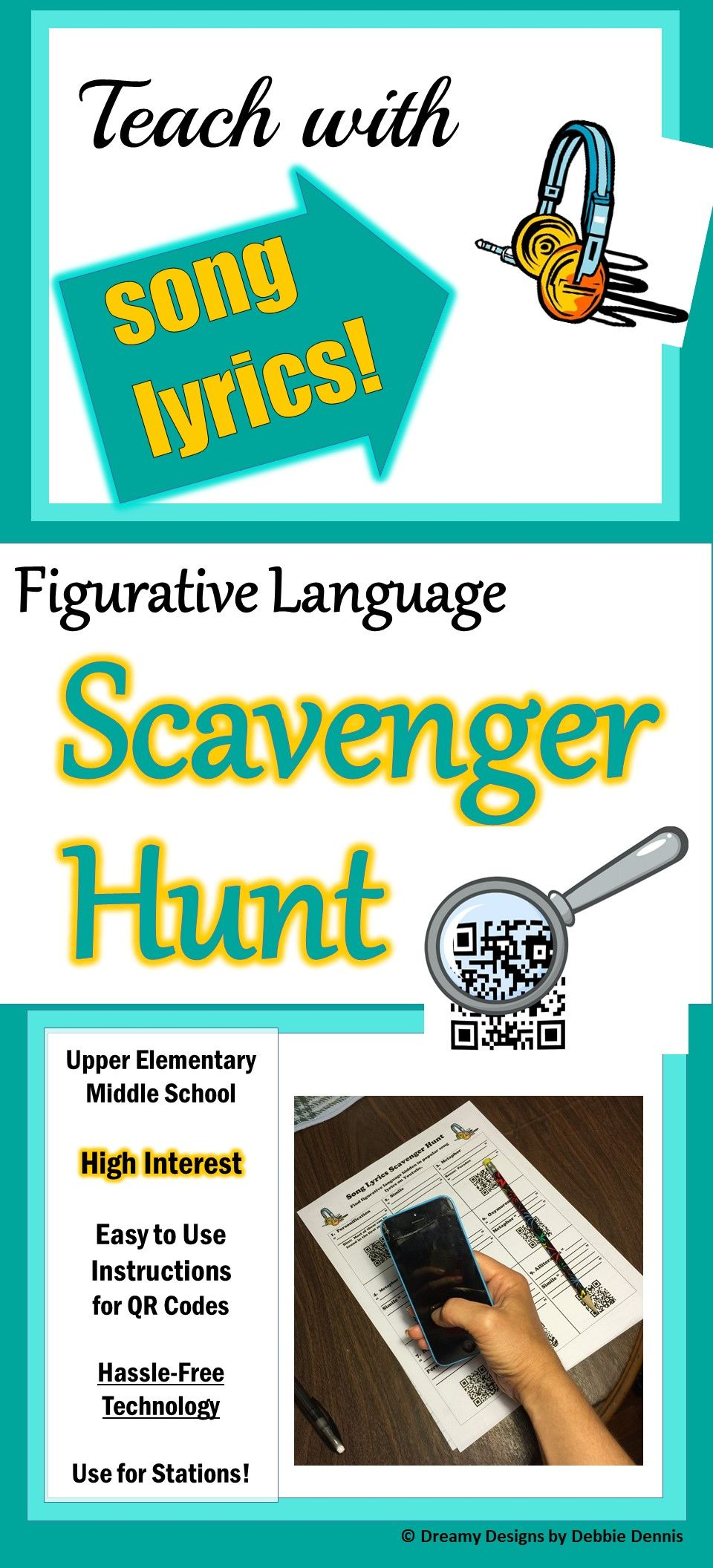 Figurative Language Scavenger Hunt W Song Lyrics Qr Codes Station