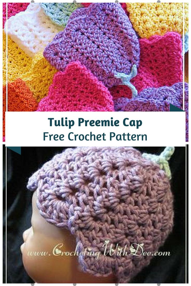 Tulip Preemie Cap Free Crochet Pattern   Crochet   Pinterest ...