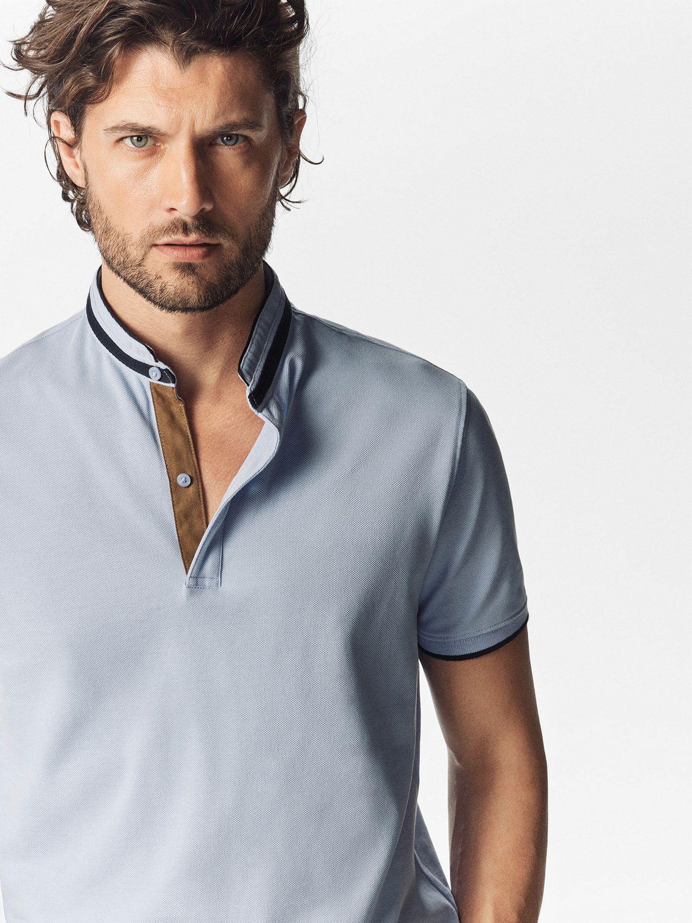 Massimo Dutti Mens Navy Blue Polo Shirt Size L Shirts