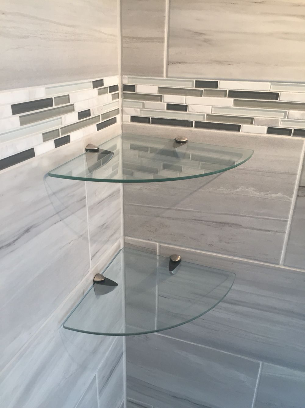 Bathroom shower glass corner shelves http://www.amazon.com