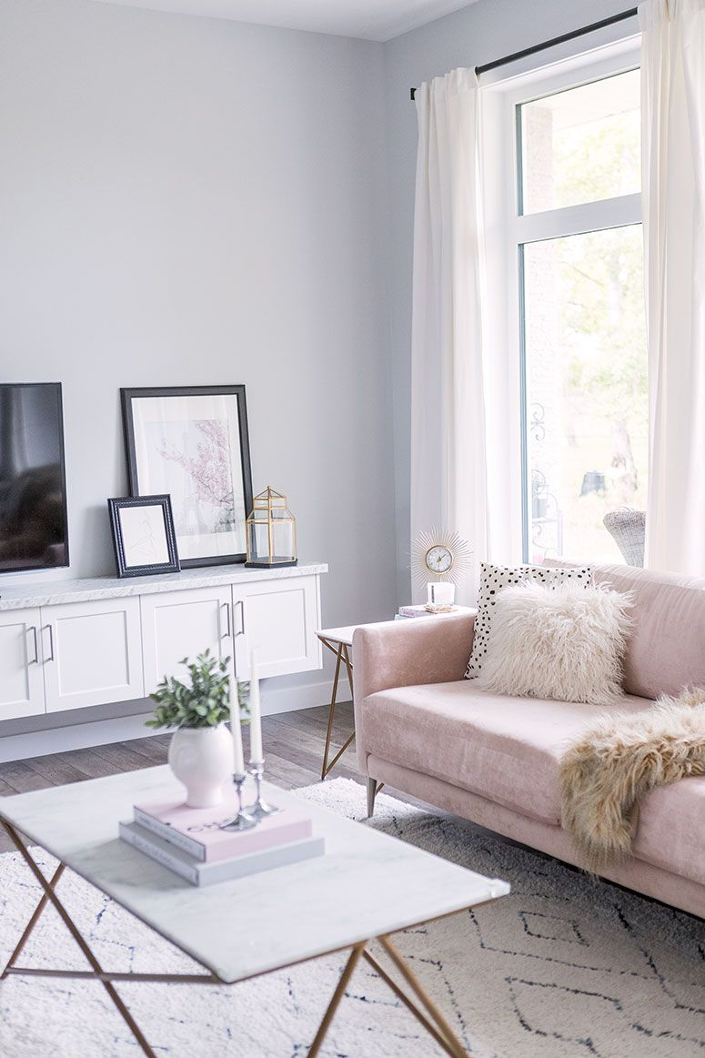 Blush Pink Sofa Living Room Decor Inspiration Pretty Little Details Pink Living Room Decor Pink Sofa Living Room Pink Sofa Living