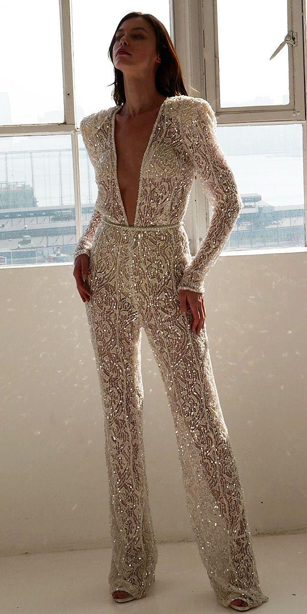 59c91d9dee1 Trend 2019  27 Wedding Pantsuit  amp  Jumpsuit Ideas ❤ wedding pantsuit  ideas deep v