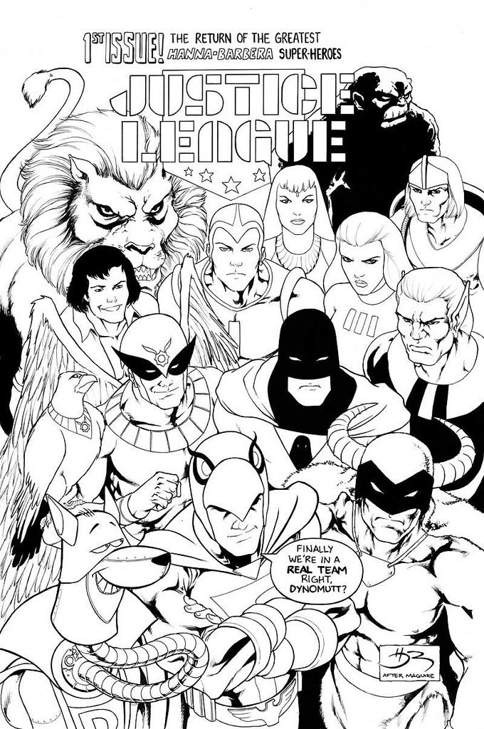 The Justice League Of Hanna Barbera Superman Coloring Pages Comic Art Cartoon