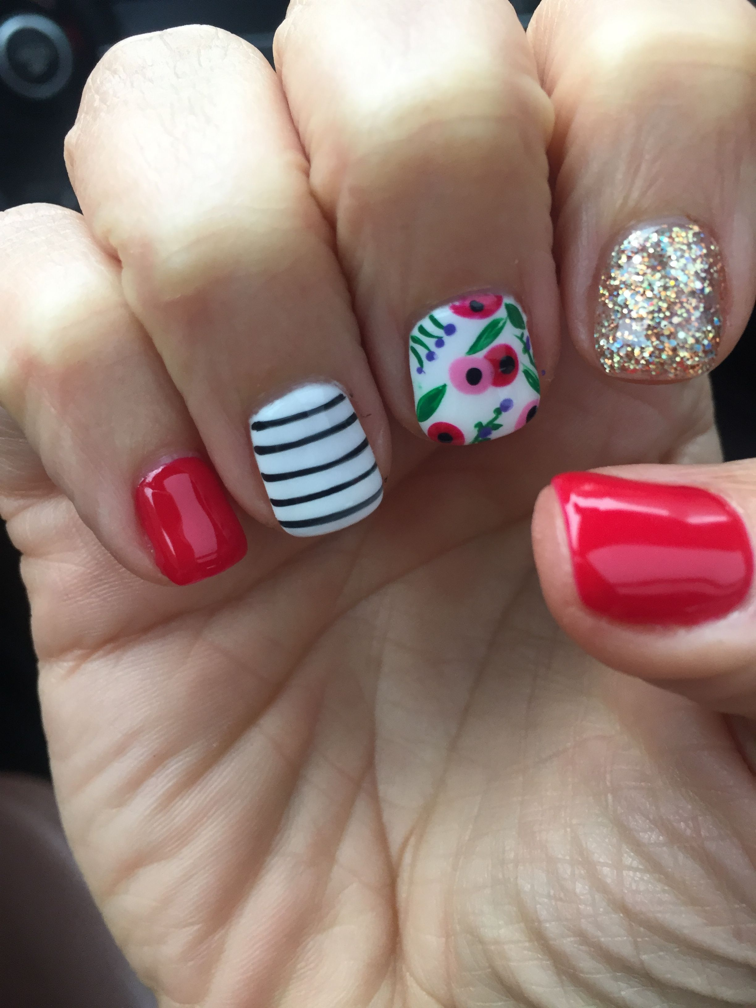 Spring Flowers Nail Design Gel Shellac Red Mani