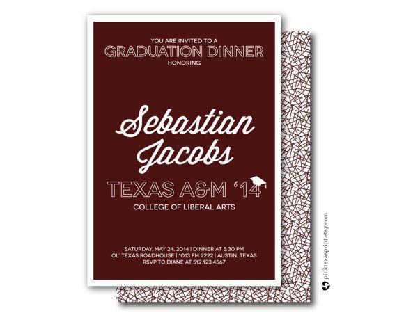 Graduation Invitations Dinner Party Celebration by PinkTexasPrint