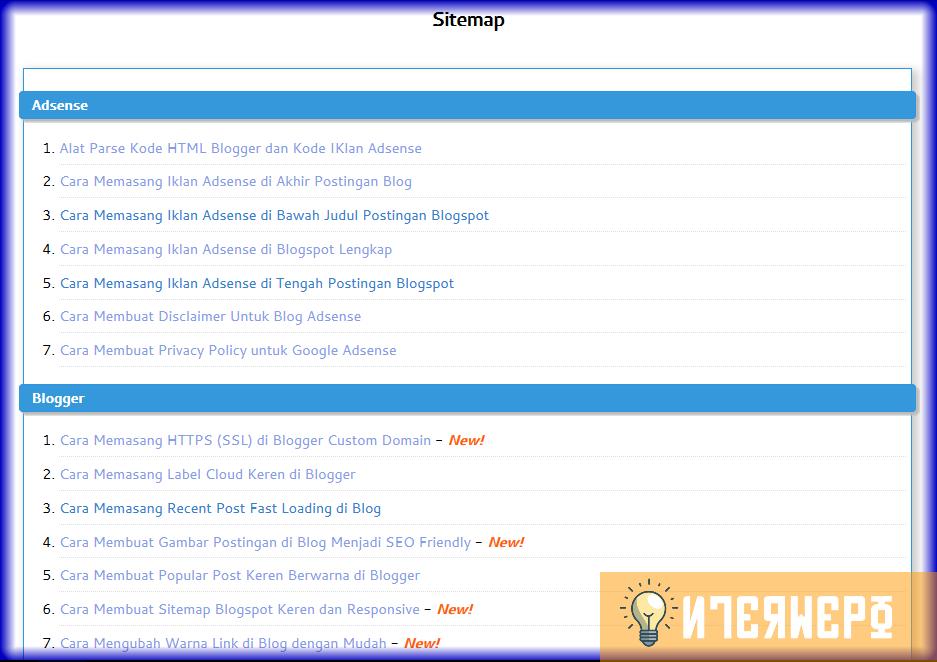 Cara Membuat Halaman Sitemap Seo Ringan Responsive Dan Keren Di Blogspot Blog Periklanan Halaman