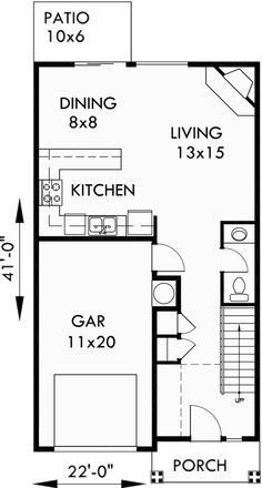 Duplex House Plans 22 Ft Wide Row House Plans D 438