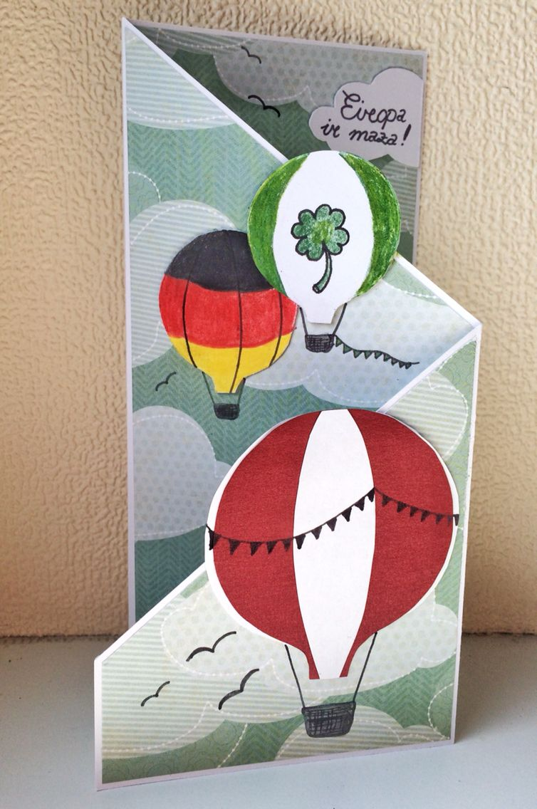 International Greeting Card With Air Baloons In Colour Of Latvia And