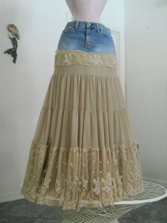 Isabelle bohemian jean skirt exquisite vintage French lace creamy tiered ruffled Renaissance Denim Couture fairy goddess Made to Order