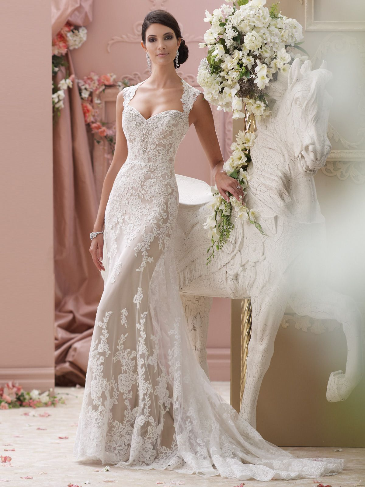 Simple Fitted Lace With Cap Sleeves Wedding Dress 115229 Lourdes
