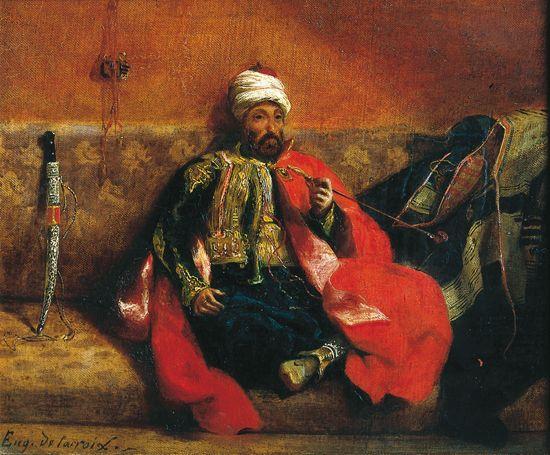 Eugène Delacroix, Turc assis fumant   Peintre orientaliste ...