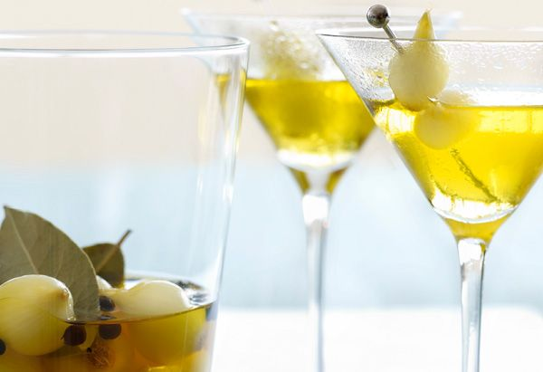 A unique take on the Classic Gibson martini!.....Saffron-Scented Gibson with Pickled Cocktail Onions @Oprah