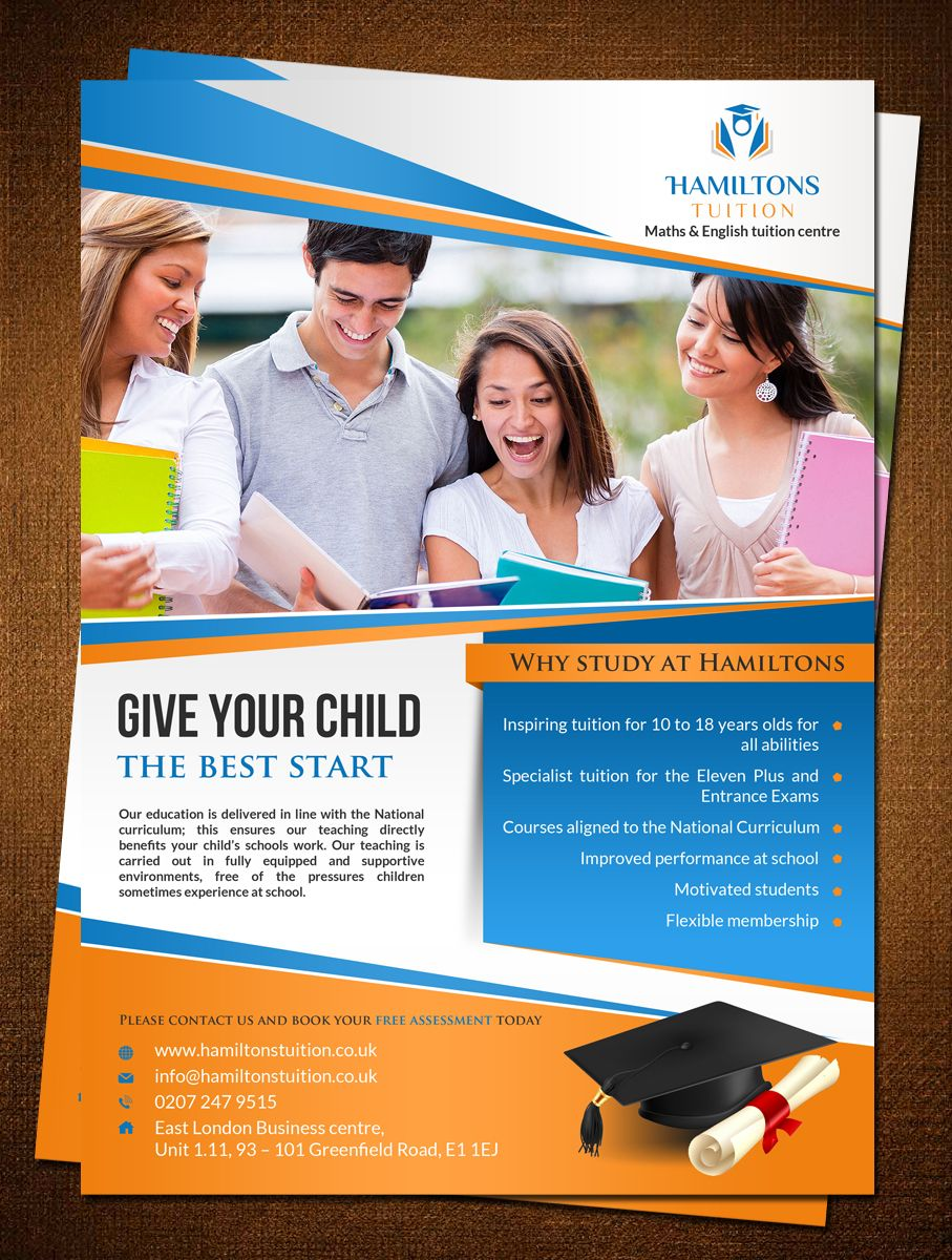 flyer design by creativebugs for leaflet for tuition centre targeting people from all background design 7101349