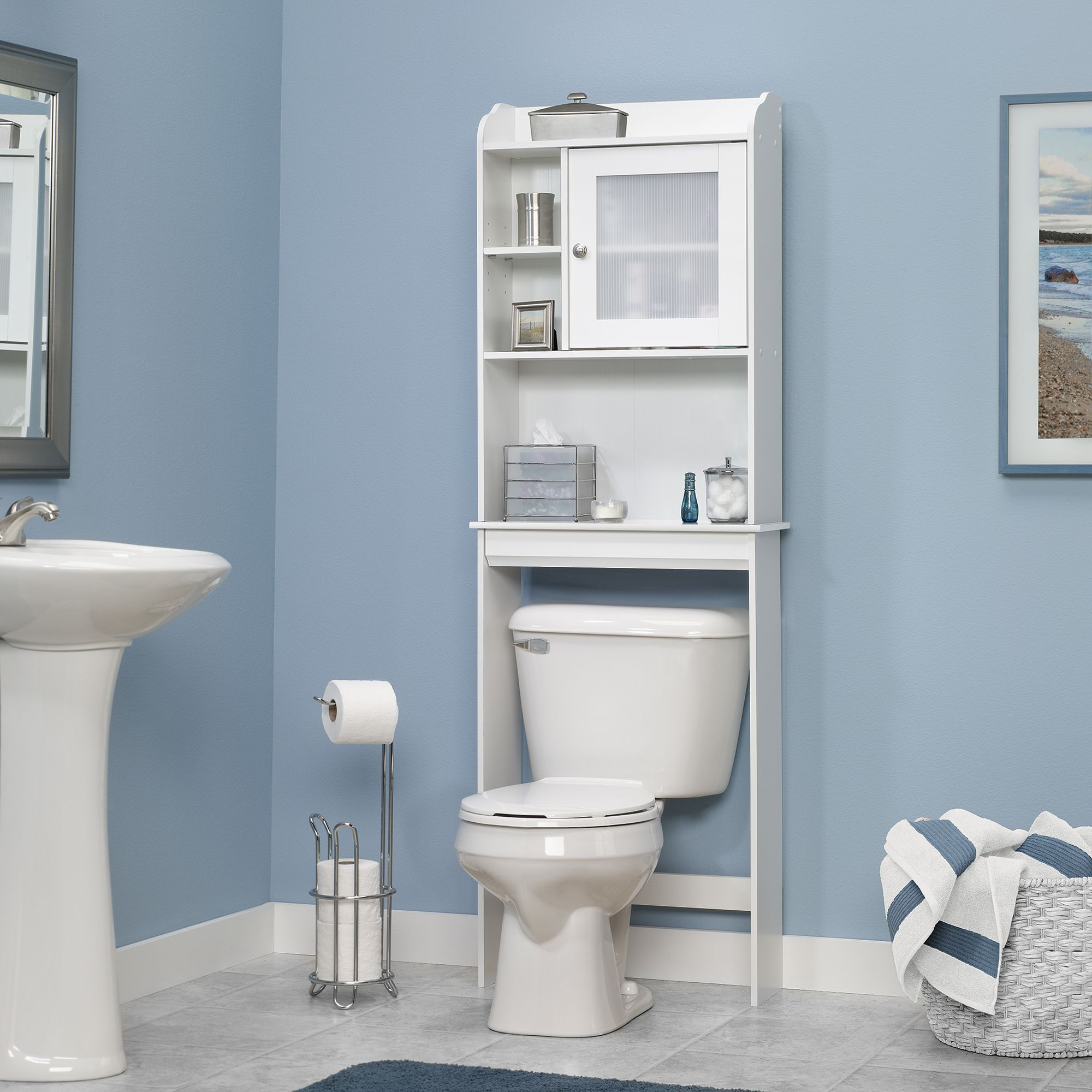 Functional Space Saver Furniture With Bathroom Etagere: Amazing Bathroom  Etagere And Toilet With Pedestal Sink