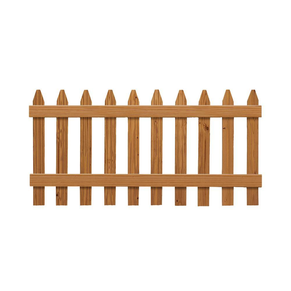 3 Ft X 6 Ft Pressure Treated Cedar Tone Moulded Fence Kit 162522 The Home Depot Wood Fence Outdoor Essentials Fence Panels