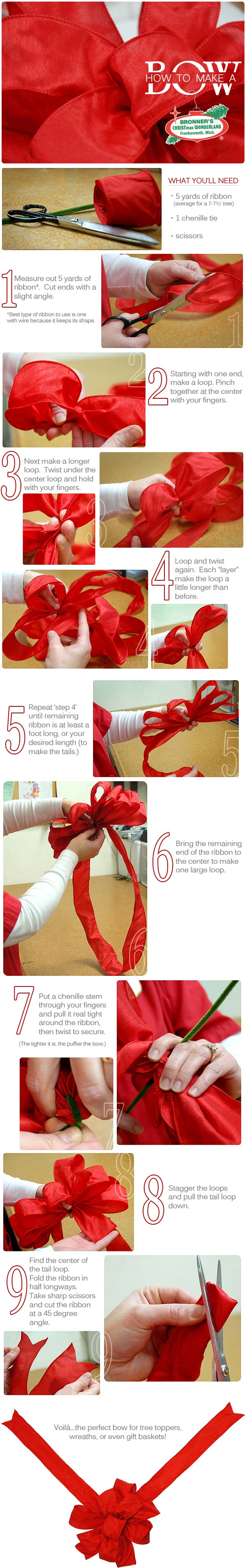how to make a bow from Bronner's CHRISTmas Wonderland