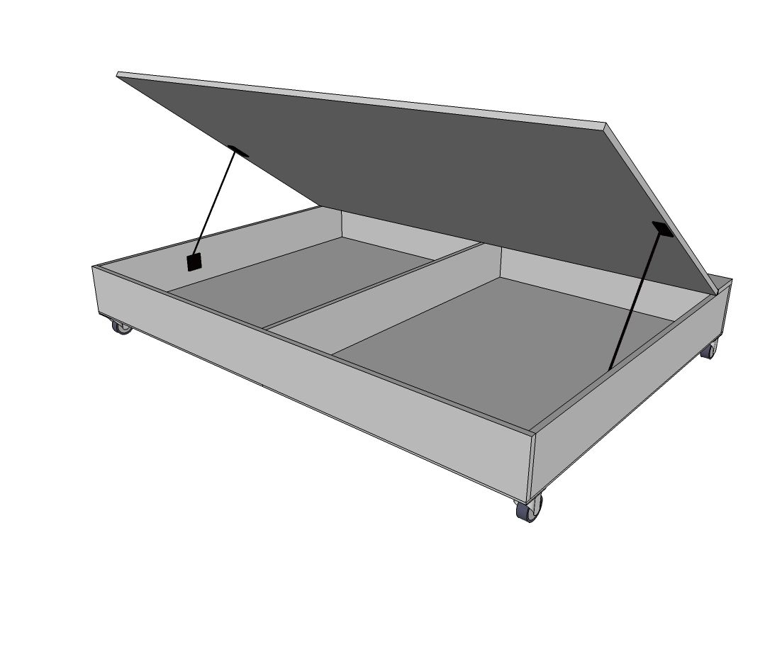Queen Size Lift Storage Bed With