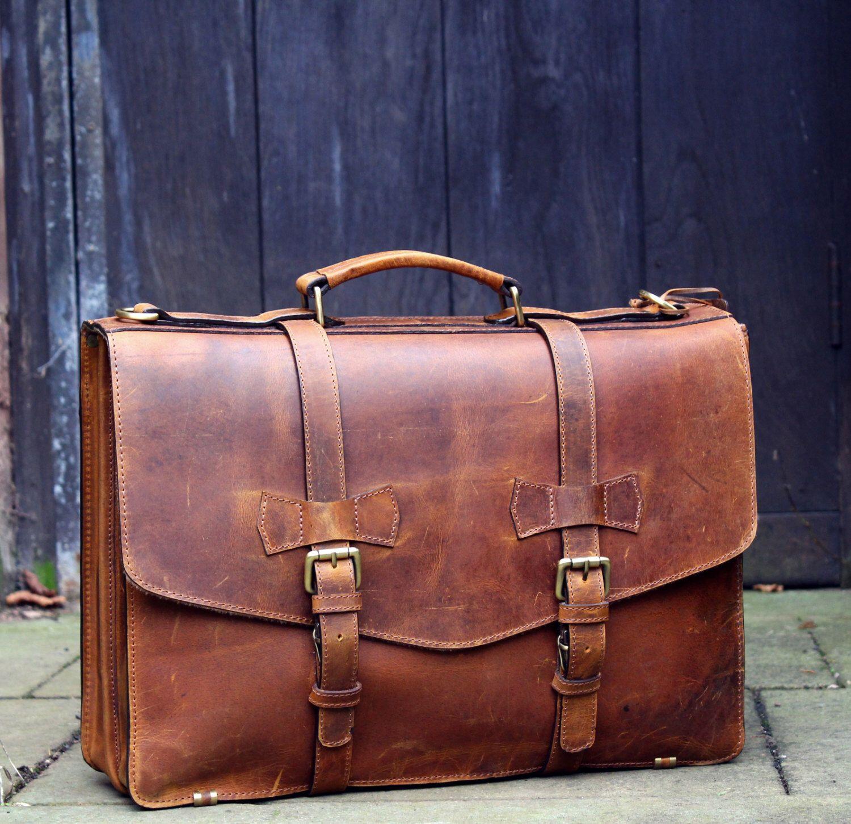 Personalised Genuine Leather Mens Briefcase Laptop Business Bag - Serviette porte document homme