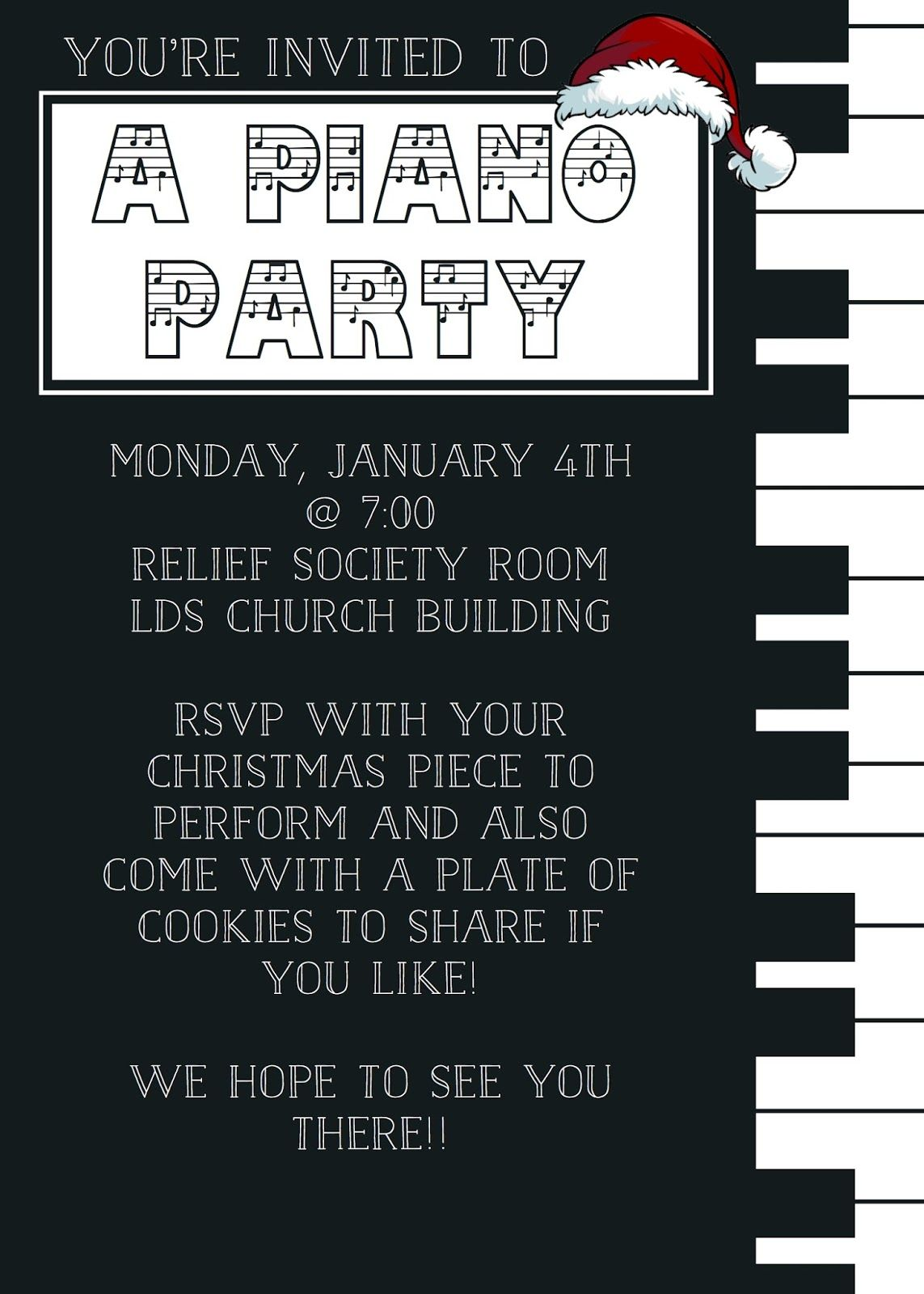 What 5 Teach Me Christmas Piano Party Invitation