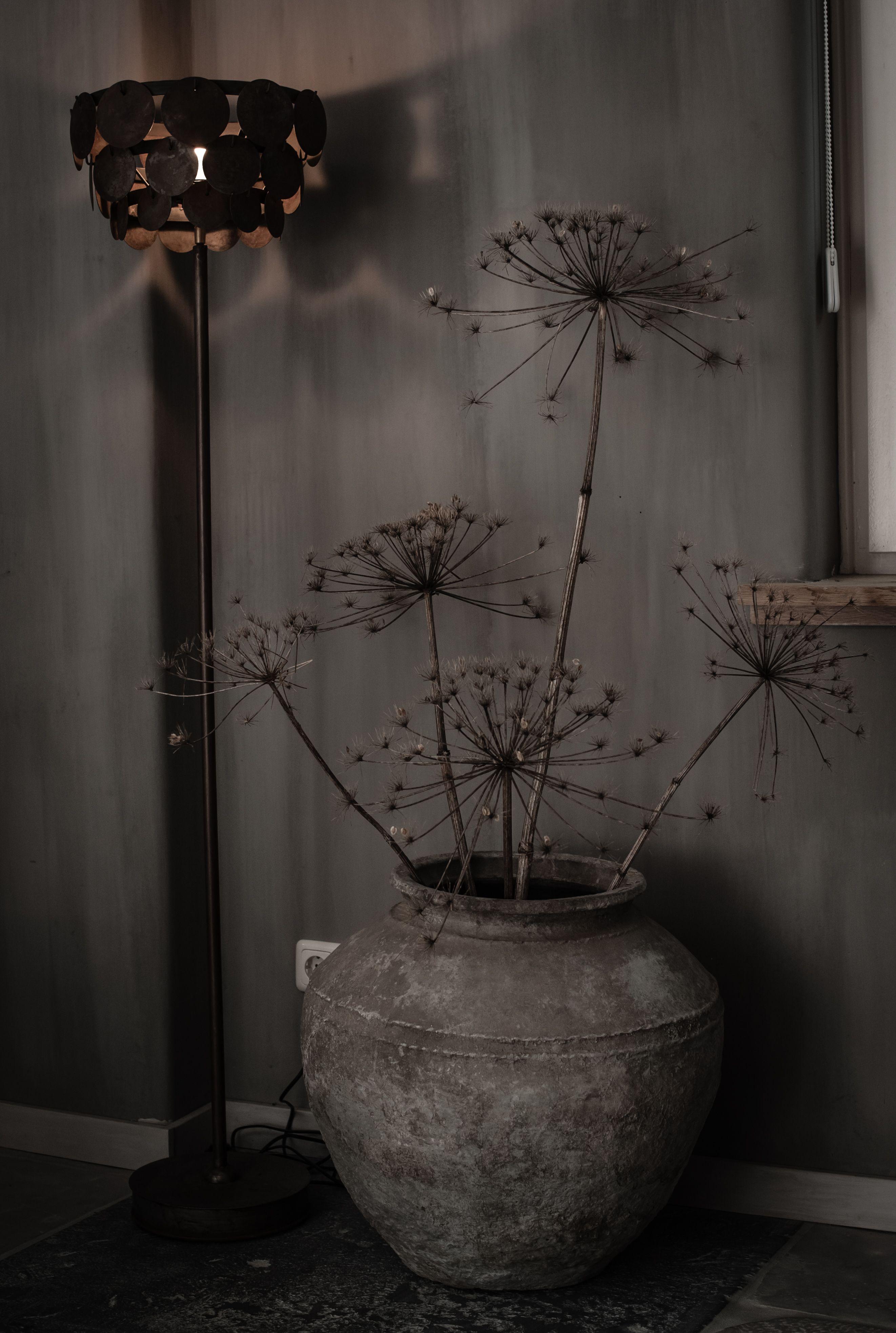 Oude kruik uit india van hoffz met gedroogde berenklauw landelijke groendecoratie - Oude huisdecoratie ...