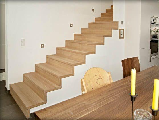 Muro e testa della scala a filo scale pinterest for Rivestire una scala in legno