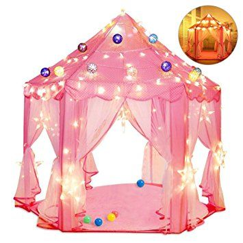 17ac1e197898 Kids Indoor Princess Castle Play Tents, Pink Princess Tent, Children Game  Play Toys Tent, Girls Playhouse, Outdoor Girls Large Playhouse, 55  inch(Diameter)x ...