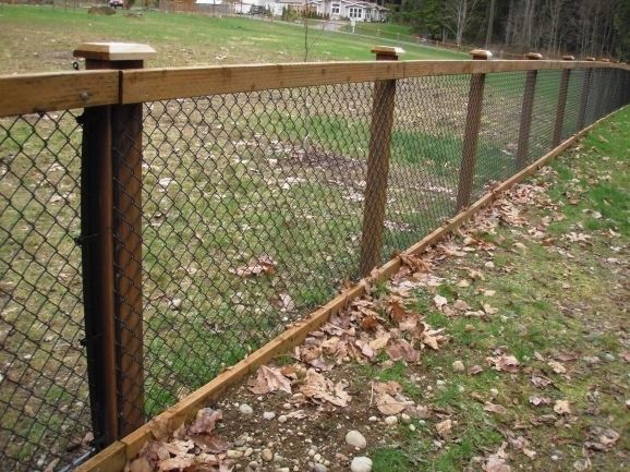Chain Link Fence With Wood Posts Fence Ideas Black Chain Link