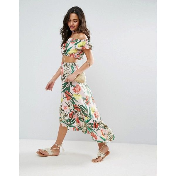 3c98053ff8 ASOS Palm Print Midi Skirt with Ruffle ($45) ❤ liked on Polyvore featuring  skirts, multi, asos, flounce hem skirt, high waisted midi skirt, high  waisted ...