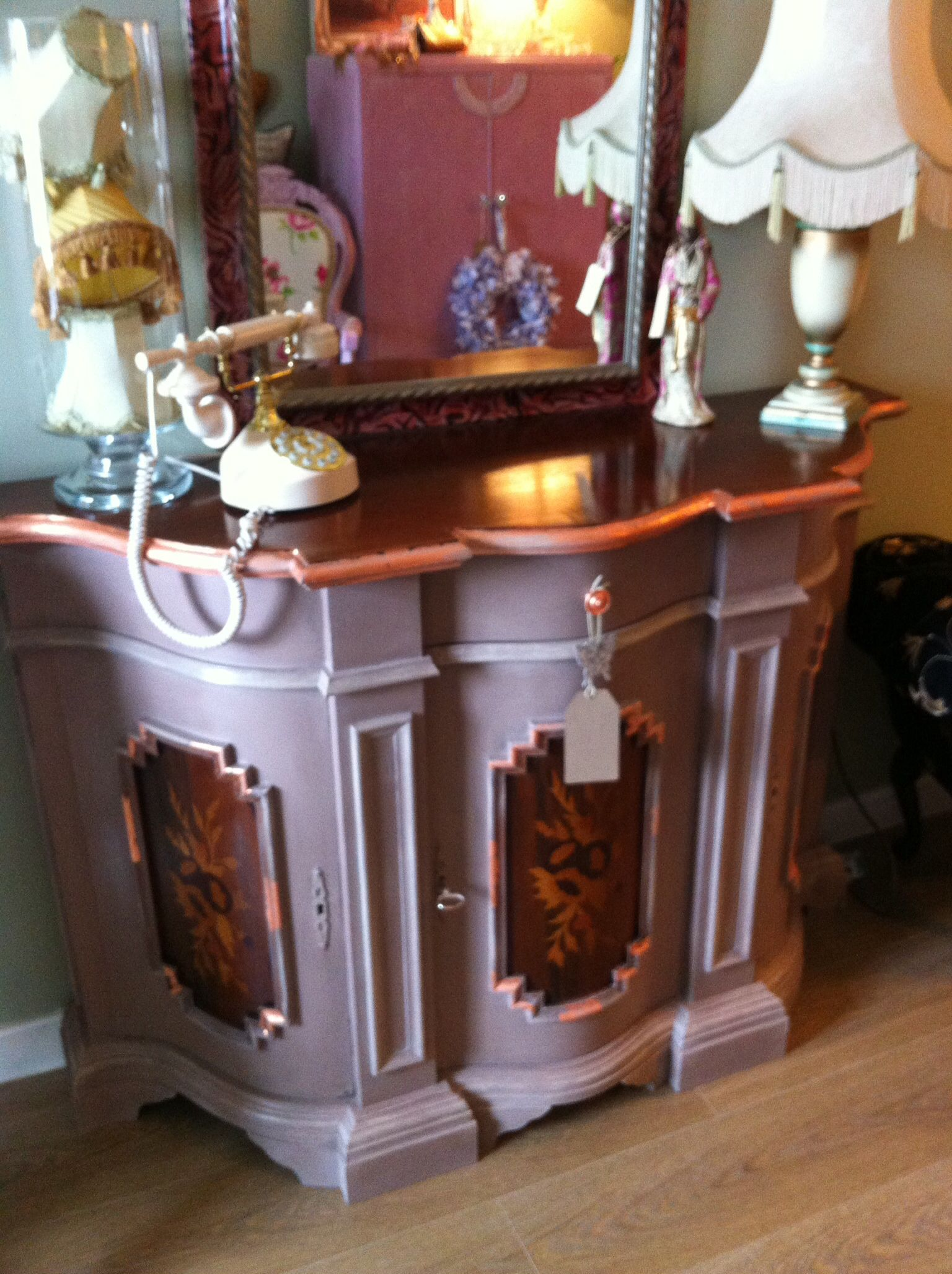 Lovely Piece Of Italian Furniture Painted In Annie Sloan Coco With Copper  Leaf! I Kept