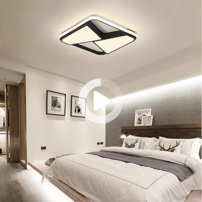 Black/White Rectangle modern led ceiling lights for living room With RC - Lighting Garner #ceilinglights #ceilinglightsfixtures #ceilinglightslivingroom #uniquelightfixtures