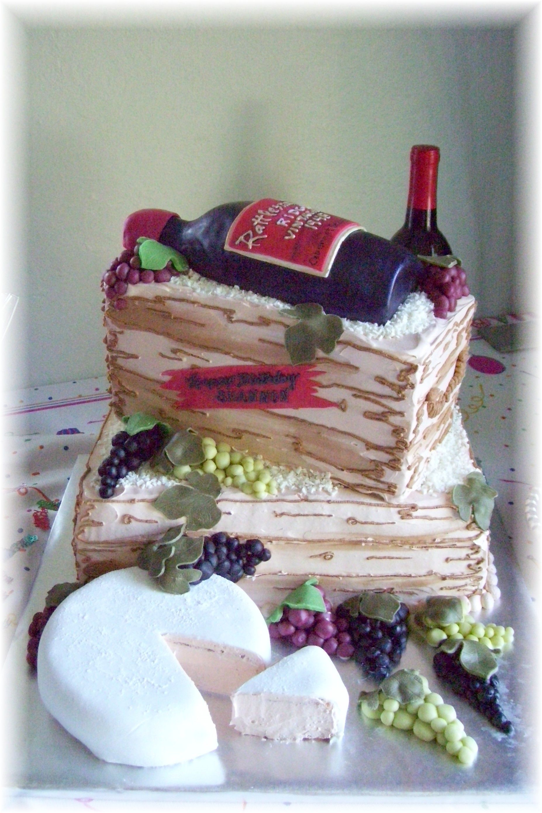 Wine bottle wine crate birthday cake Wine bottle cake made to
