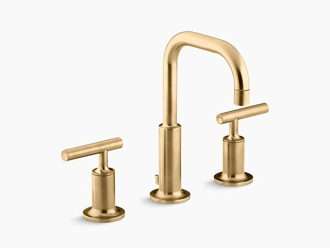 K 14406 4 Purist Widespread Sink Faucet With Low Lever Handles Kohler Bathroom Faucets Sink Faucets Widespread Bathroom Faucet