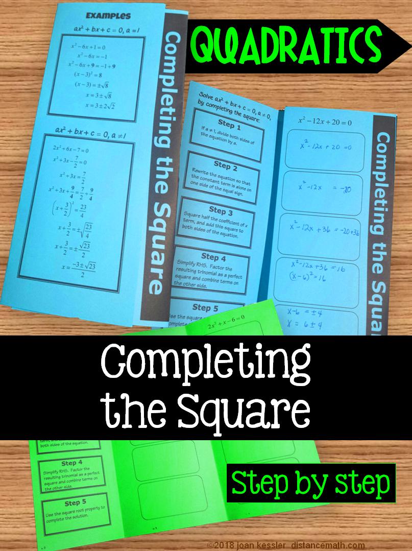 Algebra Completing the Square Foldable for Quadratic Equations ...