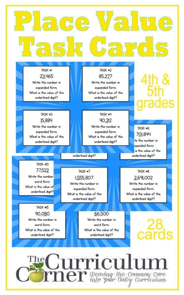 Place Value Task Cards Curriculum Math And Teacher Pay Teachers
