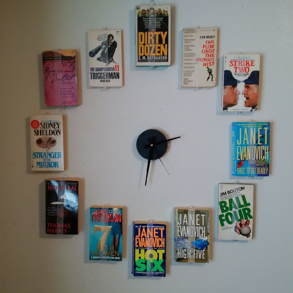 Diy Book Clock Wall Clock Made Using Books With Corresponding Numbers In The Titles Perfect For Any Bookworm Book Clock How To Make Wall Clock Diy Book