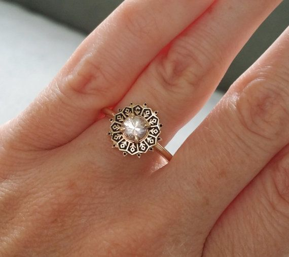 This Stunning Antique Ornate Ring features a 14K Antiqued Yellow or White Gold Filigree Setting. Set with a .50 Carat White Natural Sapphire. Makes a great Gemstone Engagement Ring, Wedding Band or Alternative or right hand ring.