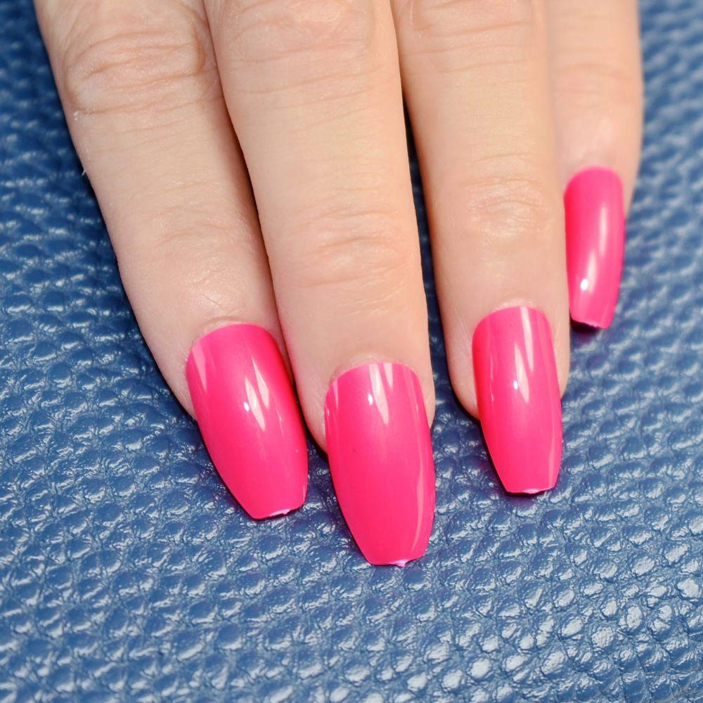 24pcs Hot Pink Coffin Long Nails False Nail Full Cover Flat Shape ...