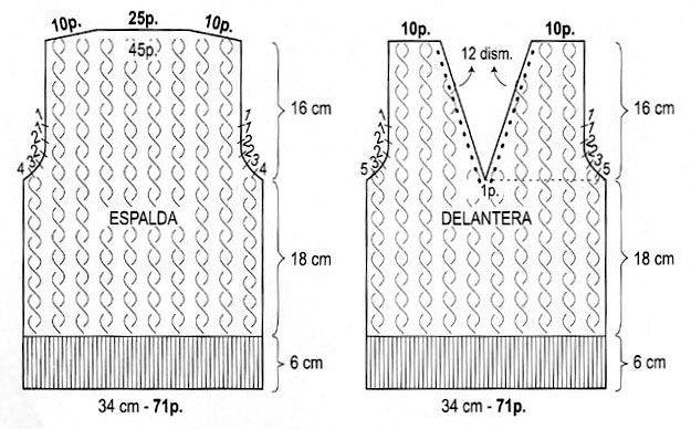 34e6511ff Patrón para Tejer un chaleco con escote en V para niños (Talle 4 años) -  iKnitts.com