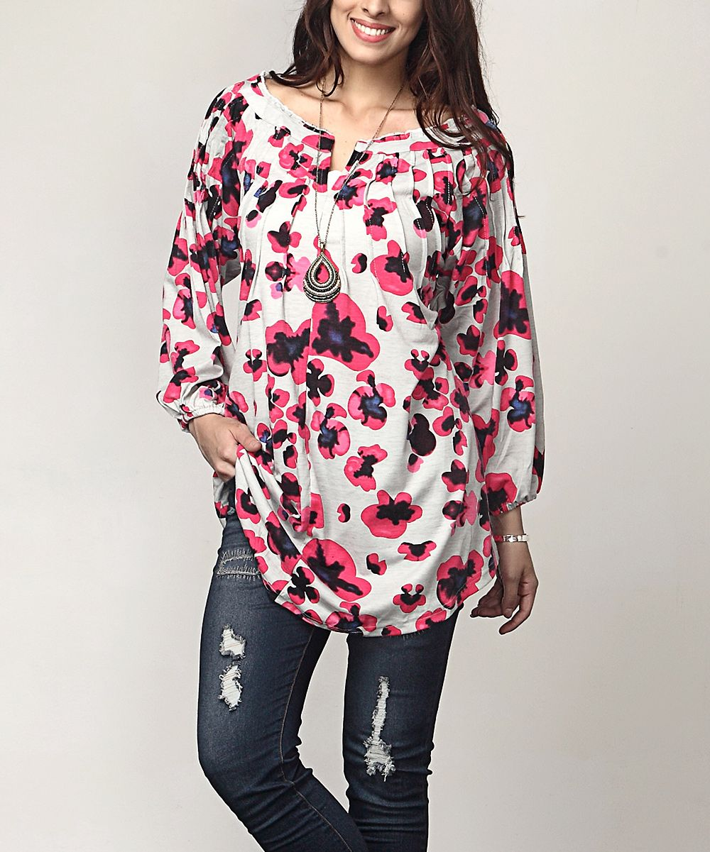 Gray Floral Notch Neck Tunic - Plus