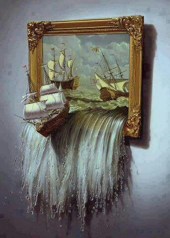 Ocean Sea 3d Painting Of Ships And Sea Surrealism Painting