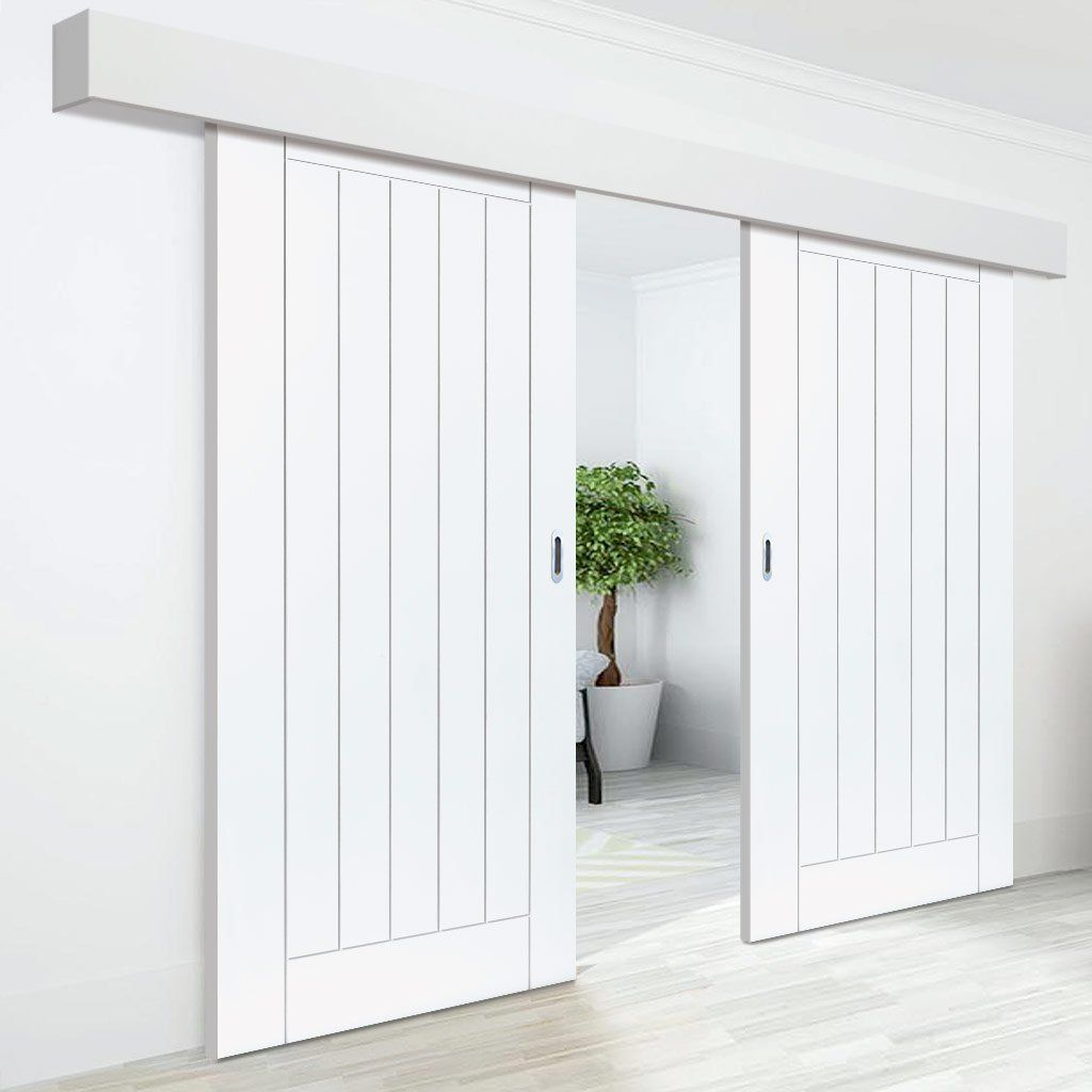 Thruslide Surface Limelight Savoy White Primed Flush Sliding Double Door and Track Kit & Thruslide Surface Limelight Savoy White Primed Flush Sliding Double ...