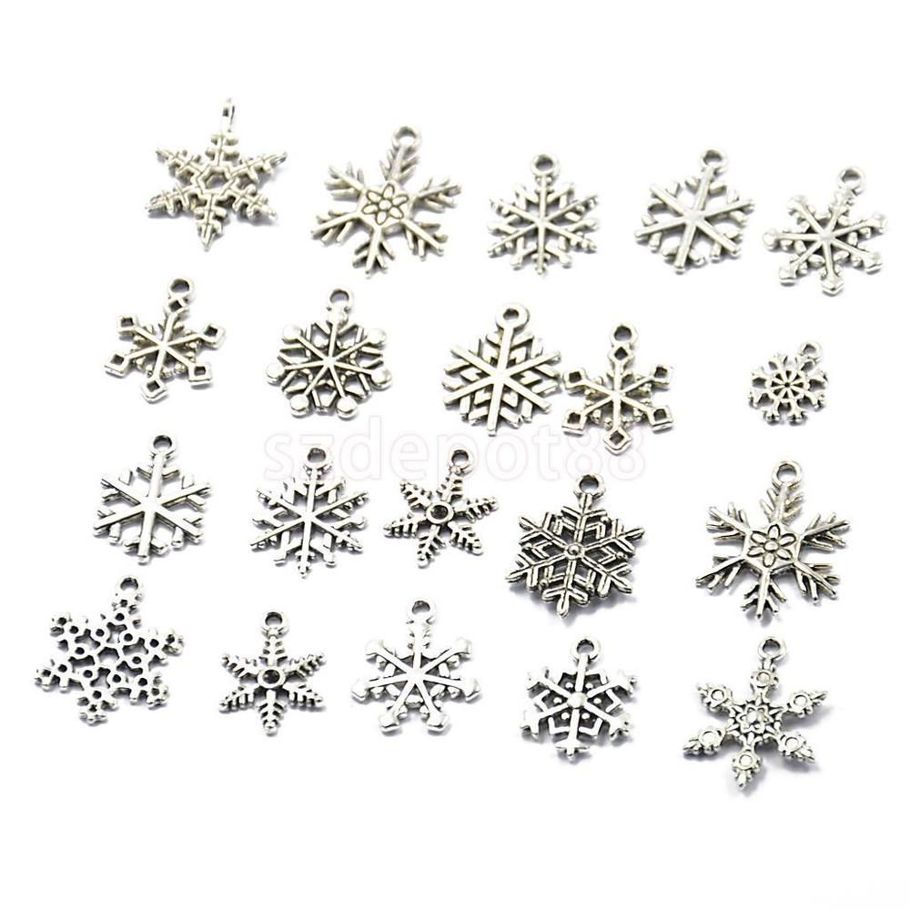 20x Silver Christmas Snowflake Charms Pendant Jewelry Making Findings Crafts
