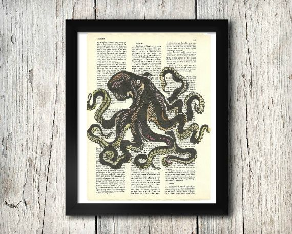 Octopus - Decorative Art Print,Vintage posters,Drawing,print,poster,digital,wall decor,Gifts,Decorative Arts,illustration,Home Living