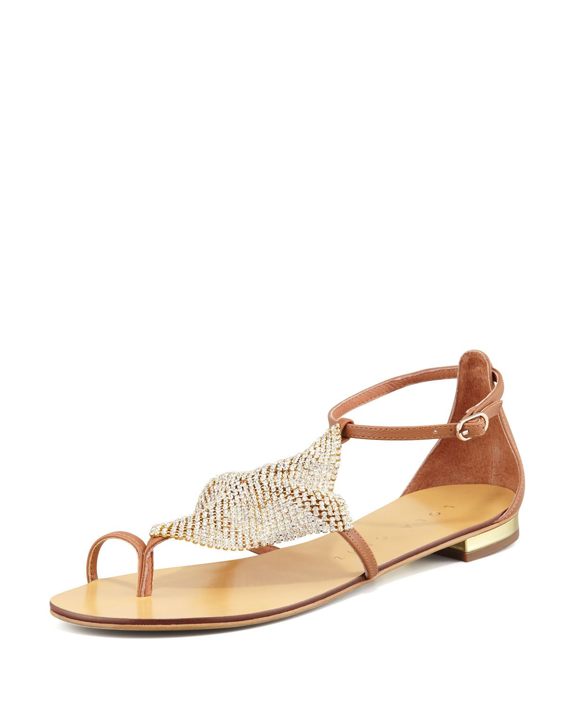Crystal Mesh Toe-Ring Sandal, Rust