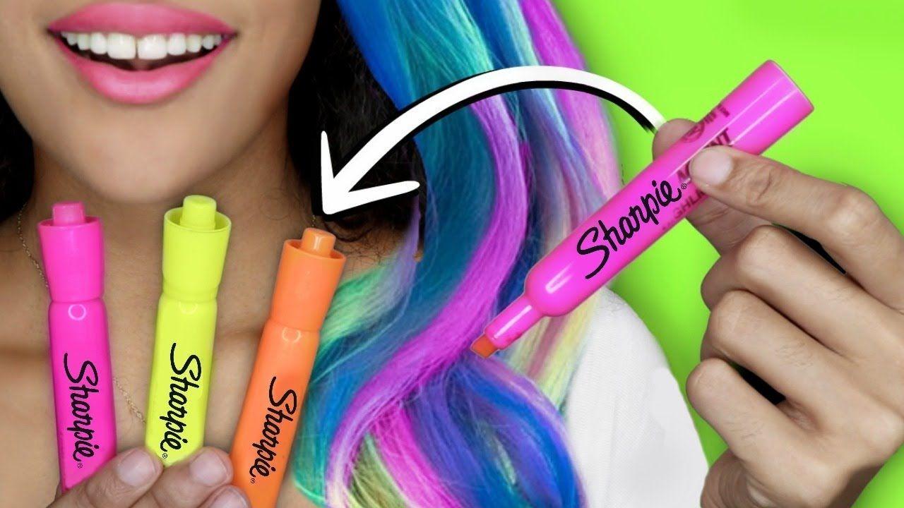 How To Make Diy Hair Dye With School Supplies Glow In The Dark Hair Diy Hair Dye Washable Hair Dye Homemade Hair Dye