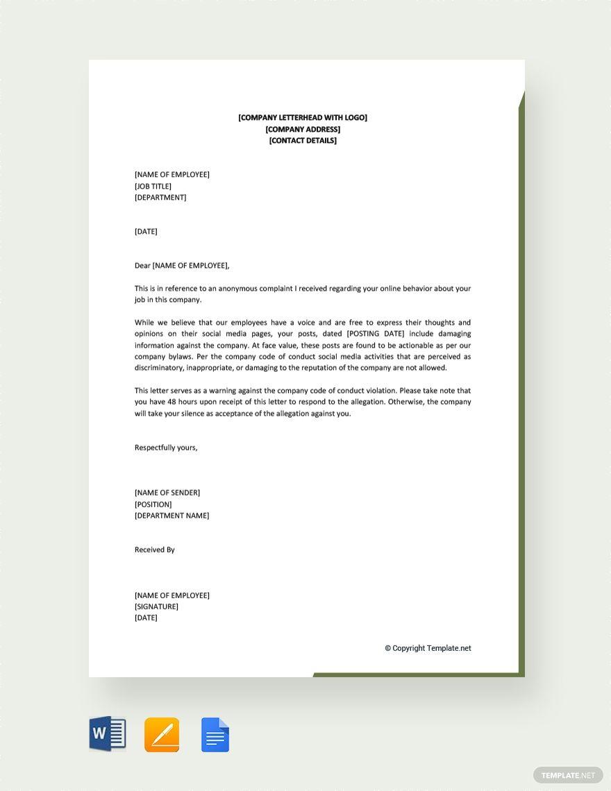 Free Warning Letter For Bad Behavior Lettering Letter Templates